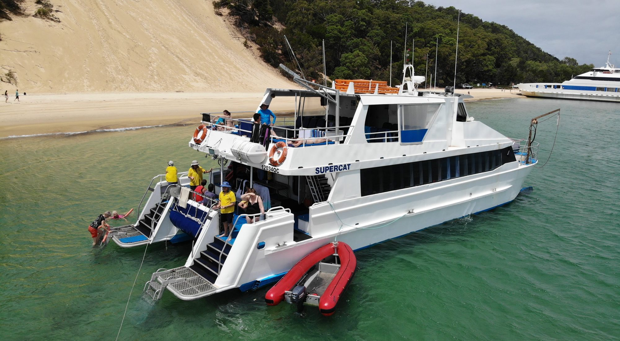 Dolphin Wild's vessel anchored at Tangalooma
